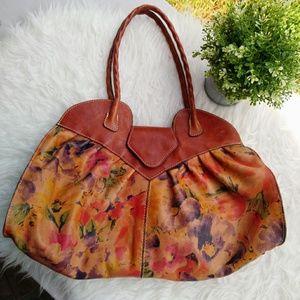 Patricia Nash Italian Leather Painted Satchel Bag